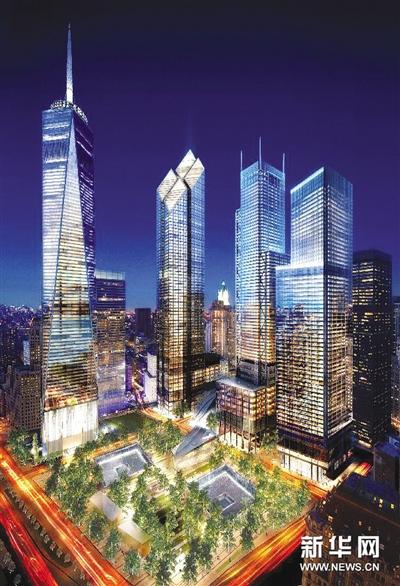 """在世贸中心双子塔遗址上建设的""""9·11纪念碑""""正在日"""