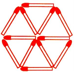 智商迷阵   越变越少   下面是用12根火柴棒组成的6个图片
