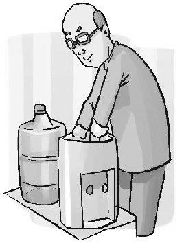取下水桶,打开饮水机