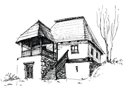 学校房子图片手绘素描
