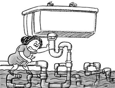 手绘建筑工人黑白图片